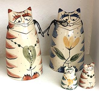 Cornelia Lehmann, Keramik (Spardosen + Salzstreuer)