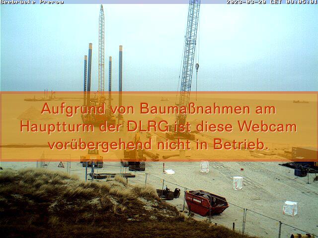 Webcam am Hauptübergang mit Bick auf die Prerower Seebrücke